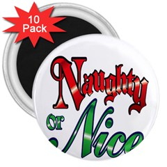 Vintage Christmas Naughty Or Nice 3  Magnets (10 Pack)