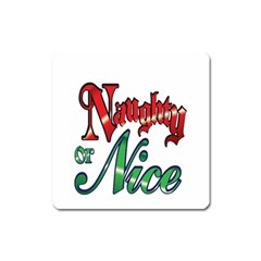 Vintage Christmas Naughty Or Nice Square Magnet