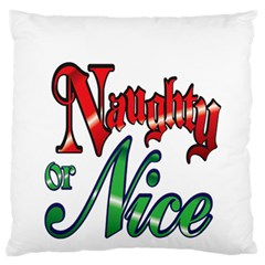 Vintage Christmas Naughty Or Nice Large Flano Cushion Case (one Side)