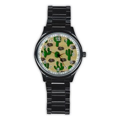 Cactuses Stainless Steel Round Watch