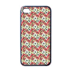 Gorgeous Red Flower Pattern  Apple iPhone 4 Case (Black)