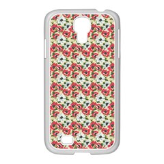Gorgeous Red Flower Pattern  Samsung GALAXY S4 I9500/ I9505 Case (White)