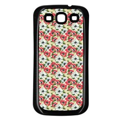 Gorgeous Red Flower Pattern  Samsung Galaxy S3 Back Case (Black)