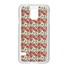 Gorgeous Red Flower Pattern  Samsung Galaxy S5 Case (White)