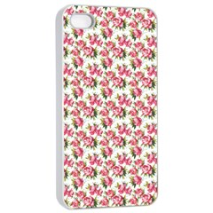 Gorgeous Pink Flower Pattern Apple iPhone 4/4s Seamless Case (White)