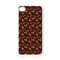 Exotic Colorful Flower Pattern  Apple iPhone 4 Case (White)