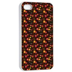 Exotic Colorful Flower Pattern  Apple iPhone 4/4s Seamless Case (White)
