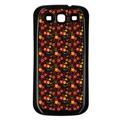 Exotic Colorful Flower Pattern  Samsung Galaxy S3 Back Case (Black)