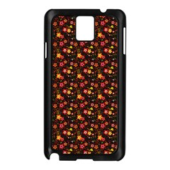 Exotic Colorful Flower Pattern  Samsung Galaxy Note 3 N9005 Case (Black)