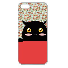 Cute Kitty Hiding Apple Seamless iPhone 5 Case (Clear)