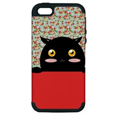 Cute Kitty Hiding Apple iPhone 5 Hardshell Case (PC+Silicone)