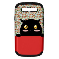 Cute Kitty Hiding Samsung Galaxy S III Hardshell Case (PC+Silicone)