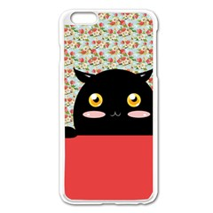 Cute Kitty Hiding Apple iPhone 6 Plus/6S Plus Enamel White Case