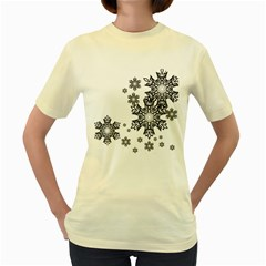 Black and white snowflakes Women s Yellow T-Shirt