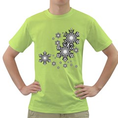 Black and white snowflakes Green T-Shirt