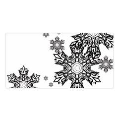 Black And White Snowflakes Satin Shawl
