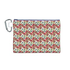 Gorgeous Red Flower Pattern  Canvas Cosmetic Bag (M)