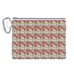 Gorgeous Red Flower Pattern  Canvas Cosmetic Bag (L)