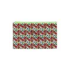 Gorgeous Red Flower Pattern  Cosmetic Bag (XS)