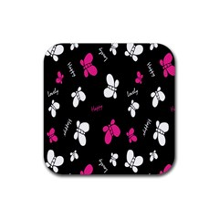 Butterfly Rubber Square Coaster (4 pack)