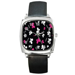 Butterfly Square Metal Watch