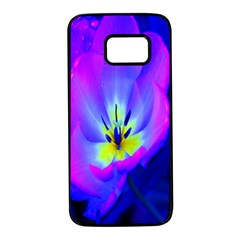 Blue And Purple Flowers Samsung Galaxy S7 Black Seamless Case
