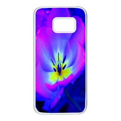 Blue And Purple Flowers Samsung Galaxy S7 White Seamless Case