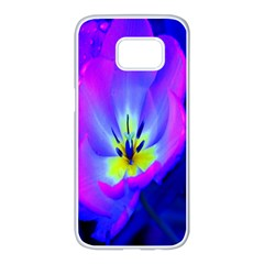 Blue And Purple Flowers Samsung Galaxy S7 Edge White Seamless Case