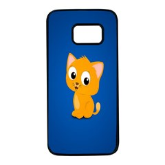 Cute Cat Samsung Galaxy S7 Black Seamless Case