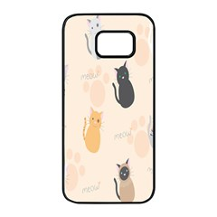 Cute Cat Meow Animals Samsung Galaxy S7 Edge Black Seamless Case