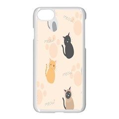Cute Cat Meow Animals Apple Iphone 7 Seamless Case (white)