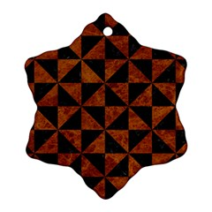 Triangle1 Black Marble & Brown Marble Snowflake Ornament (two Sides)