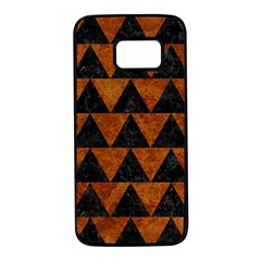 Triangle2 Black Marble & Brown Marble Samsung Galaxy S7 Black Seamless Case