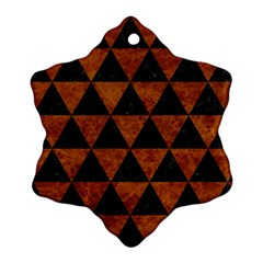 Triangle3 Black Marble & Brown Marble Snowflake Ornament (two Sides)