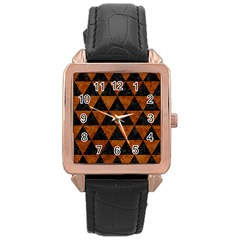 Triangle3 Black Marble & Brown Marble Rose Gold Leather Watch