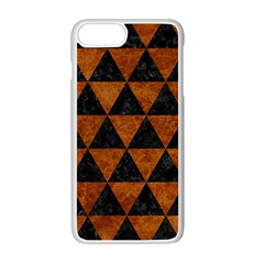 Triangle3 Black Marble & Brown Marble Apple Iphone 7 Plus White Seamless Case