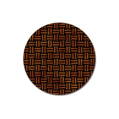 Woven1 Black Marble & Brown Marble Magnet 3  (round)