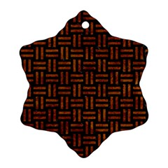 Woven1 Black Marble & Brown Marble Snowflake Ornament (two Sides)