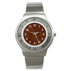 Woven1 Black Marble & Brown Marble (r) Stainless Steel Watch