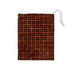 Woven1 Black Marble & Brown Marble (r) Drawstring Pouch (medium)