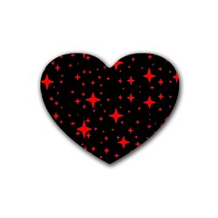 Bright Red Stars In Space Heart Coaster (4 Pack)
