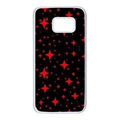 Bright Red Stars In Space Samsung Galaxy S7 White Seamless Case