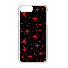 Bright Red Stars In Space Apple Iphone 7 Plus White Seamless Case