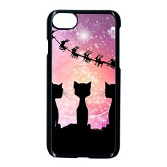 Cats Looking In The Sky At Santa Claus At Night Apple iPhone 7 Seamless Case (Black)