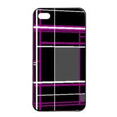 Simple Magenta Lines Apple Iphone 4/4s Seamless Case (black)