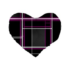 Simple Magenta Lines Standard 16  Premium Heart Shape Cushions