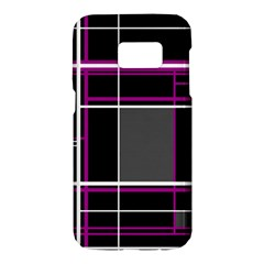 Simple magenta lines Samsung Galaxy S7 Hardshell Case