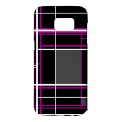 Simple magenta lines Samsung Galaxy S7 Edge Hardshell Case