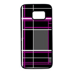 Simple magenta lines Samsung Galaxy S7 Black Seamless Case