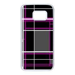 Simple magenta lines Samsung Galaxy S7 White Seamless Case